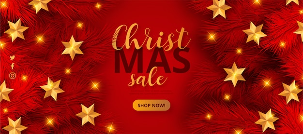 Red christmas sale banner template Free Vector