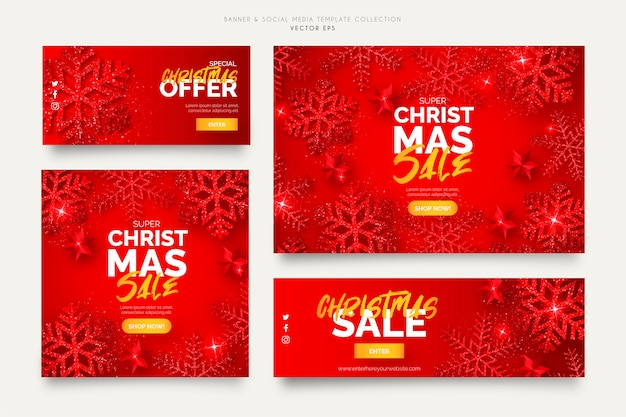 Red christmas sale banner templates Free Vector