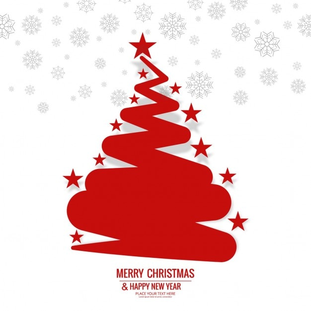 Red christmas tree background with stars Free Vector