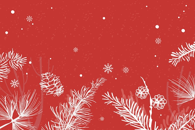 Red christmas tree festive background Free Vector