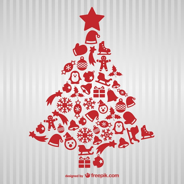Red Christmas tree with icons