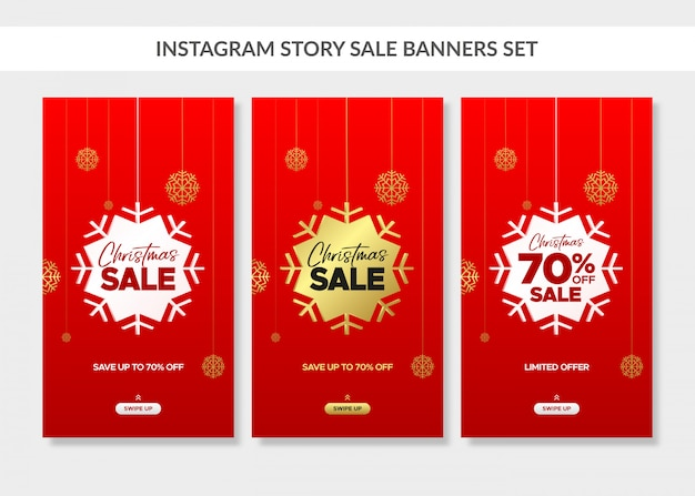 Red christmas vertical sale banners set for instagram story Premium Vector
