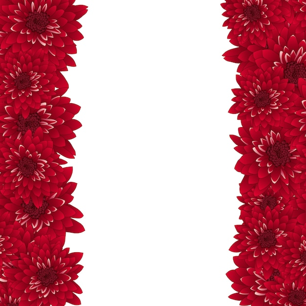 Red chrysanthemum border Premium Vector
