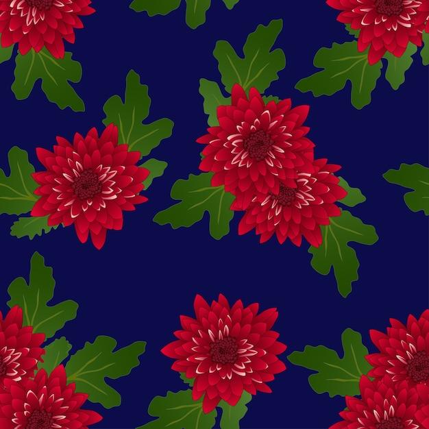 Red chrysanthemum on navy blue background Premium Vector