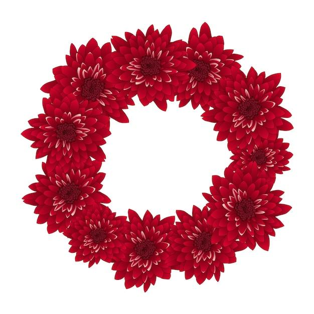 Red chrysanthemum wreath Premium Vector