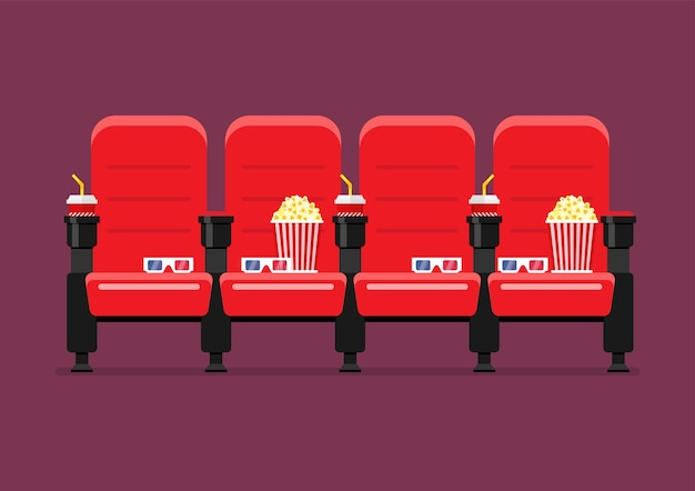 Red cinema chairs vector illustration Premium Vector