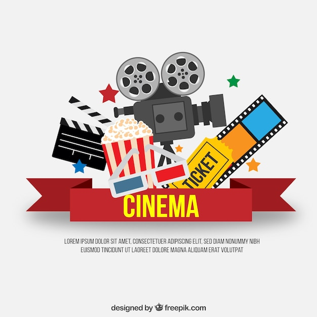 Red cinema ribbon with movie elements Free Vector