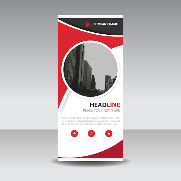 Red circle creative roll up banner template Vector | Free Download