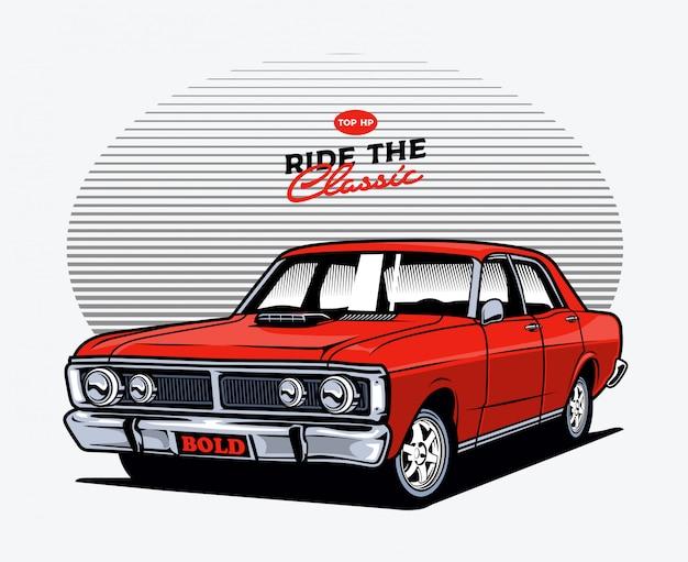 Red classic car Premium Vector