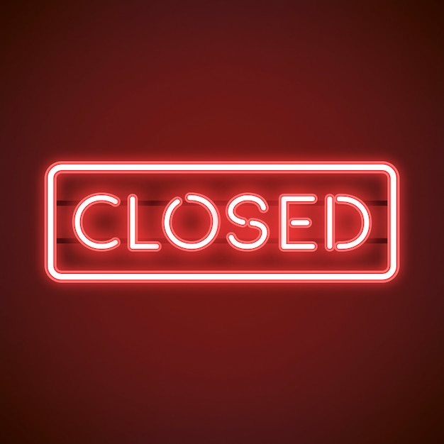 Red closed neon sign vector Free Vector