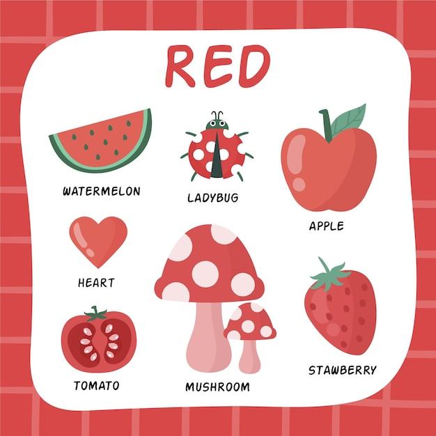 英語で設定された赤い色と語彙 無料ベクター