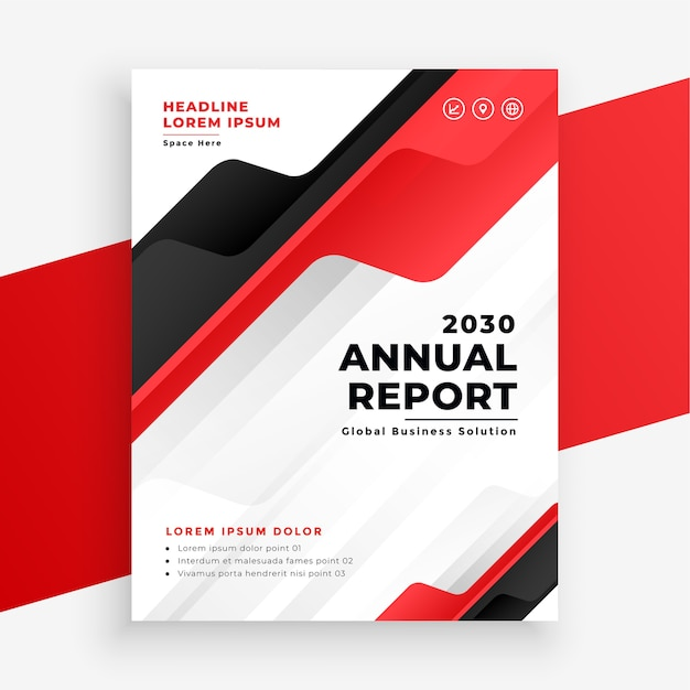 Red color annual report business brochure design template Free Vector