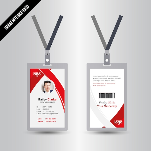 Red Color Id Card Design Template Vector | Premium Download