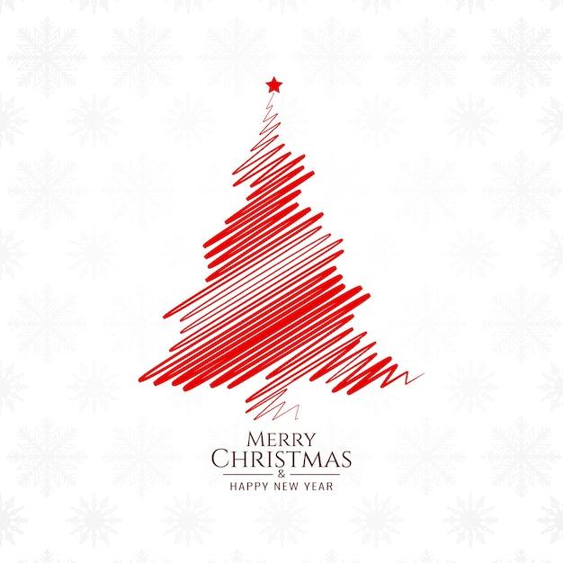 Красный цвет эскиз дерева для счастливого рождества фона дизайн Бесплатные векторы