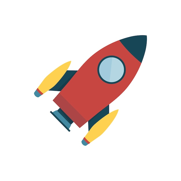 Red color space rocket isolated graphic illustration Free Vector