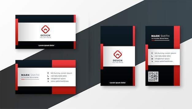 赤い色のテーマのモダンなビジネスカードのデザインテンプレート 無料ベクター