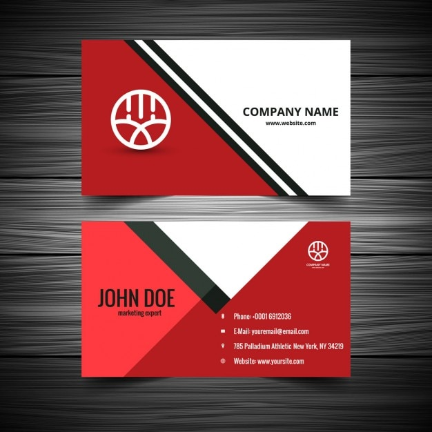 Red Color Visiting Card Vector Free Download