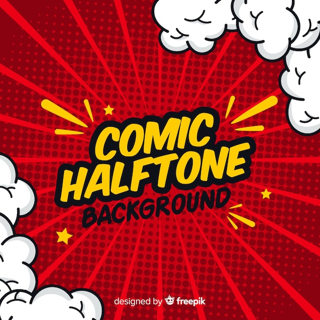 Red comic halftone background Premium Vector