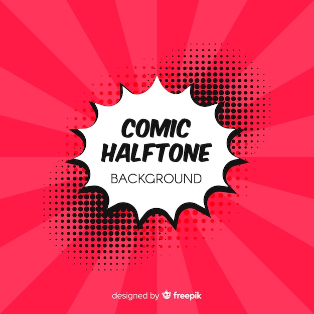 Red comic halftone background Free Vector
