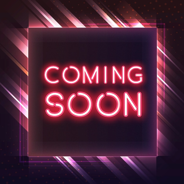 Red coming soon neon icon vector Free Vector