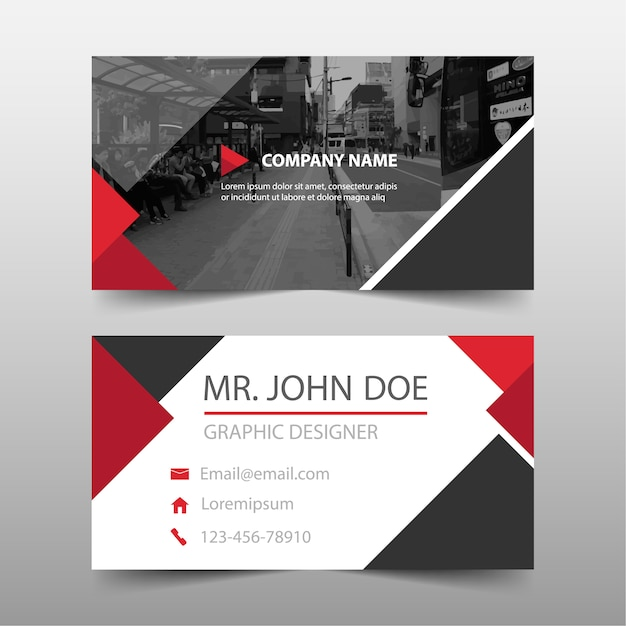 Red commercial business card Free Vector