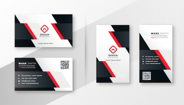 Red company business card design Free Vector