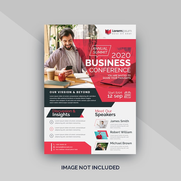 Red conference flyer template Premium Vector