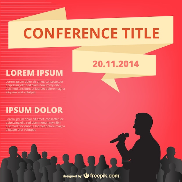 red conference poster with people silhouettes vector | free download, Powerpoint templates