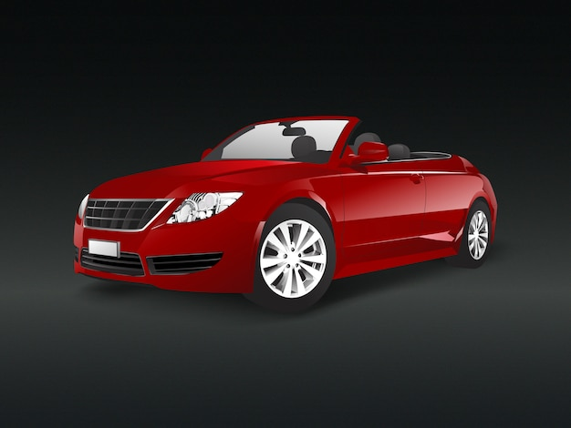 Red convertible car in a black background vector Free Vector