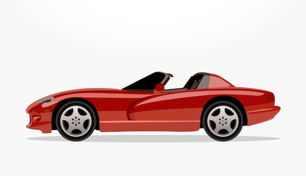 Red Convertible Car Cartoon With Detailed Side And Shadow Effect