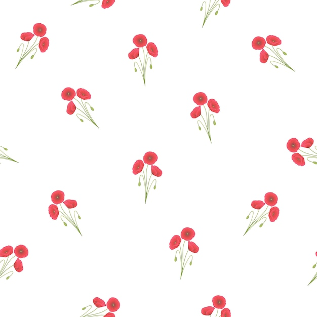 Red corn poppy seamless on white background Premium Vector