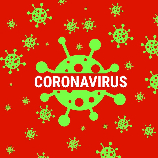 Red coronavirus warning poster with covid 19 icon Premium Vector