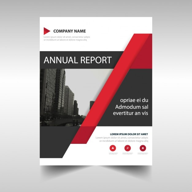 Red corporate brochure with geometric shapes vector free for Red brochure template