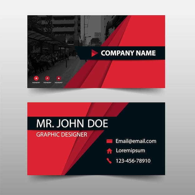 Red corporate business card template vector free download red corporate business card template free vector cheaphphosting