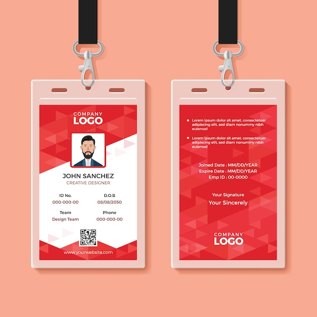 Red corporate id card Premium Vector