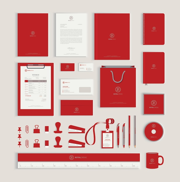Red corporate identity design template Premium Vector