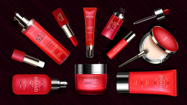 Red cosmetic line for skin care and makeup Free Vector