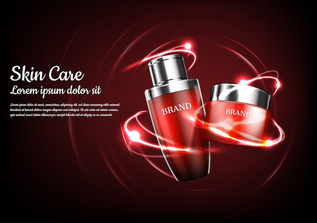 Red cosmetic products with abstract orbit lights Premium Vector