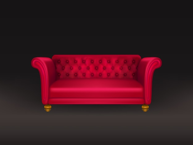 Red couch, sofa isolated on black Free Vector