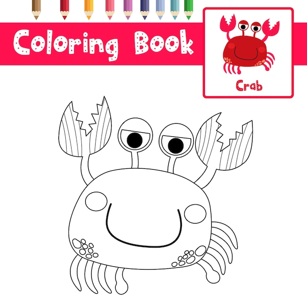 Red crab coloring page Premium Vector