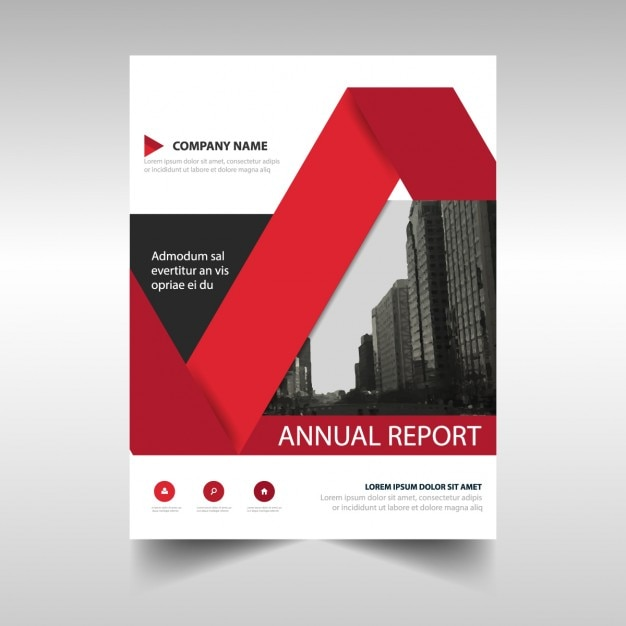 Creative Book Report Covers : Red creative annual report book cover template vector
