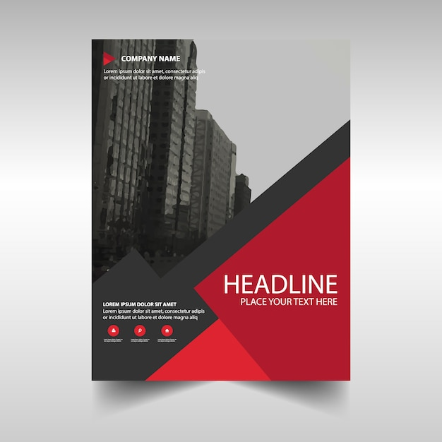 Red creative annual report template for business Vector – Business Annual Report Template