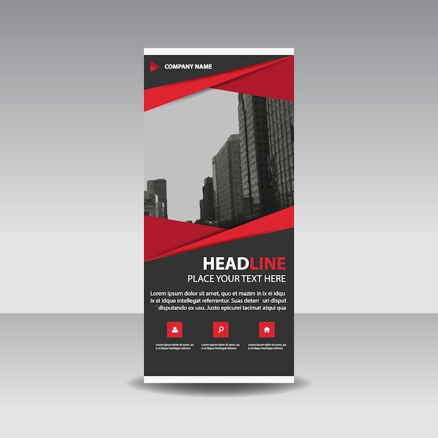 red creative roll up banner template vector free download