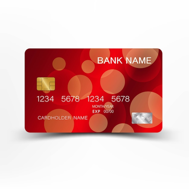 Red Credit Card Template Design.