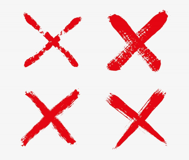 Red cross mark icons Premium Vector