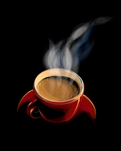 Красная чашка кофе с дымом на черном фоне. иллюстрация красок Premium векторы