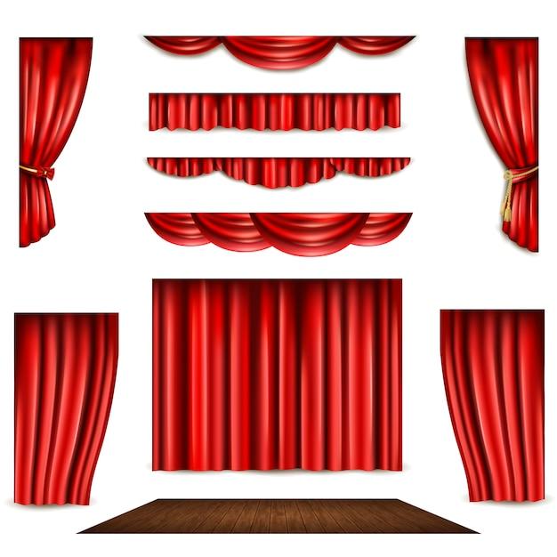 レッドカーテンとステージのアイコンセット 無料ベクター