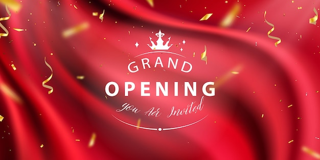 Red curtain background grand opening event confetti gold ribbons luxury greeting rich card Premium Vector