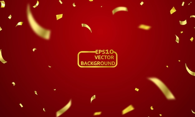 Red curtain background. grand opening event design. confetti gold ribbons. Premium Vector