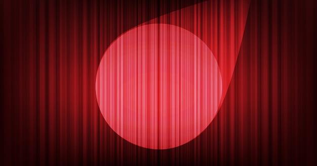 Красный занавес фон с сценическим светом Premium векторы